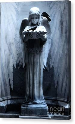 Savannah Bonaventure Spooky Angel With Ravens Canvas Print