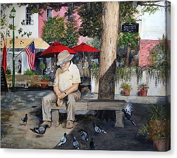 Canvas Print featuring the painting Savannah City Market by Alan Lakin