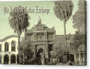 Savannah Cotton Exchange - Old Ink Canvas Print by Art America Gallery Peter Potter