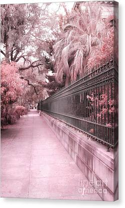 Savannah Dreamy Pink Rod Iron Gate Fence Architecture Street With Palm Trees  Canvas Print