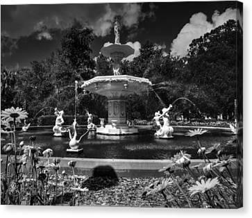 Savannah - Forsyth Park Fountain 001 Bw Canvas Print by Lance Vaughn