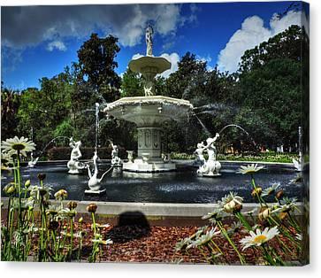 Savannah - Forsyth Park Fountain 001 Canvas Print by Lance Vaughn