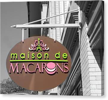 Savannah French Macarons Shop - Parisian Bakery Macaron Shop Savannah Georgia Canvas Print by Kathy Fornal