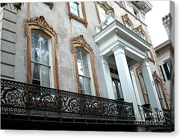 Savannah Georgia Architecture Doors And Windows Canvas Print by Kathy Fornal