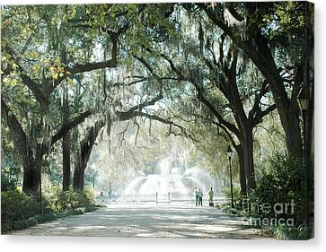 Savannah Georgia Forsyth Fountain Oak Trees With Moss Canvas Print by Kathy Fornal