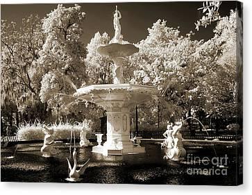 Savannah Georgia Fountain - Forsyth Fountain - Infrared Sepia Landscape Canvas Print by Kathy Fornal
