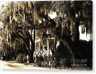 Savannah Georgia Haunting Surreal Southern Mansion With Spanish Moss Canvas Print by Kathy Fornal