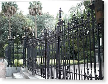 Savannah Georgia Mansion With Black Rod Iron Gates Canvas Print by Kathy Fornal