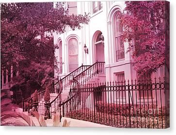 Art Nouveau Style Canvas Print - Savannah Georgia Romantic Pink House Gates by Kathy Fornal