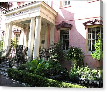 Savannah Georgia - The Olde Pink House Historical Restaurant Canvas Print by Kathy Fornal