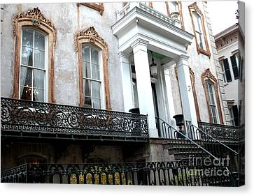 Art Nouveau Style Canvas Print - Savannah Georgia Victorian Homes Architecture - Savannah Historial District by Kathy Fornal