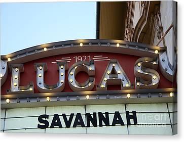 Historical Signs Canvas Print - Savannah Lucas Theatre 1921 - Vintage Historical Lucas Theatre Sign Savannah Georgia  by Kathy Fornal