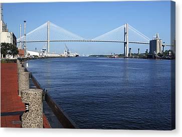 Savannah River Bridge Ga Canvas Print by Bob Pardue