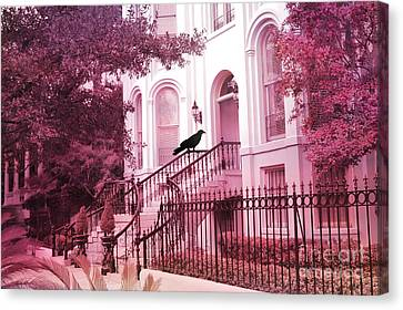 Savannah Surreal Pink House With Raven Canvas Print by Kathy Fornal