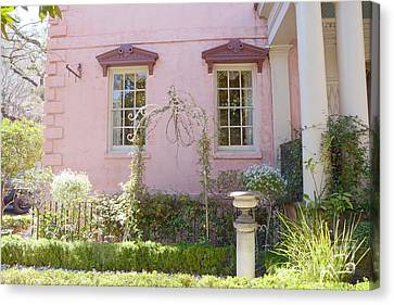 Savannah The Olde Pink House Restaurant Architecture - Savannah Romantic Pink House And Gardens  Canvas Print by Kathy Fornal