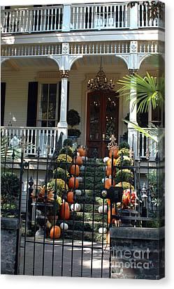 Savannah Victorian Home Fall Pumpkins Mums  Canvas Print