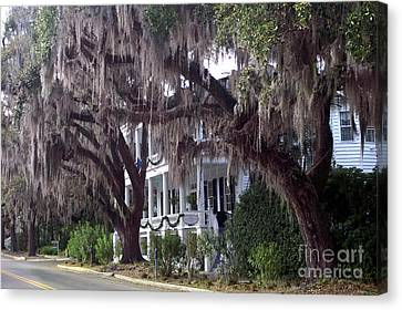 Savannah Victorian Mansion Hanging Moss Trees Canvas Print by Kathy Fornal