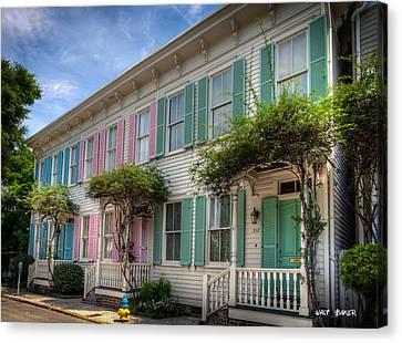 Savannah's Rainbow Row Canvas Print