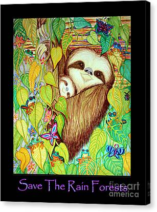 Sloth Canvas Print - Save The Rain Forests by Nick Gustafson