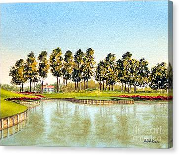Canvas Print featuring the painting Sawgrass Tpc Golf Course 17th Hole by Bill Holkham