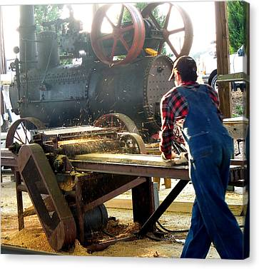 Sawmill Planer In Action Canvas Print by Pete Trenholm