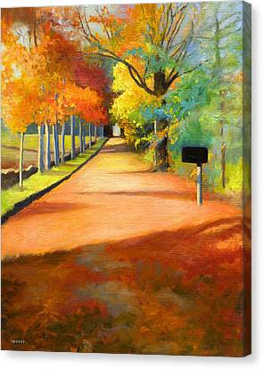 Change Canvas Print - Sawmill Road Autumn Vermont Landscape by Catherine Twomey