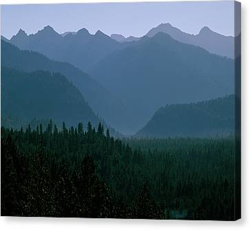 Sawtooth Mountains Silhouette Canvas Print by Ed  Riche