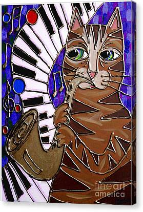 Sax Cat 2 Canvas Print by Cynthia Snyder