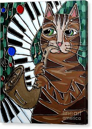 Sax Cat Canvas Print