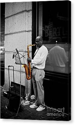 Canvas Print featuring the photograph Sax Player  by Sarah Mullin