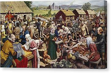 Saxon Village Fair Colour Litho Canvas Print