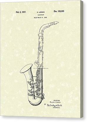 Saxophone 1937 Patent Art Canvas Print by Prior Art Design
