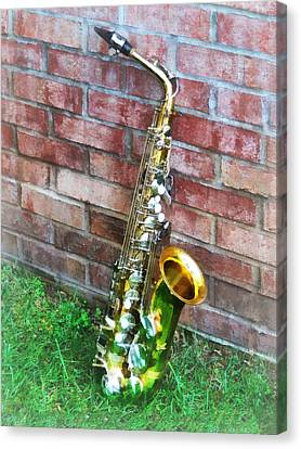 Saxophone Against Brick Canvas Print