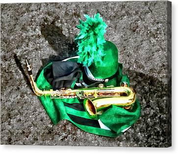 Saxophone And Band Uniform Canvas Print by Susan Savad