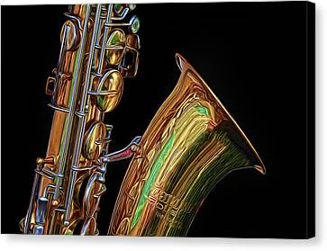 Canvas Print featuring the photograph Saxophone by Dave Mills