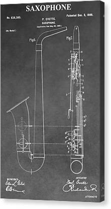 Marching Band Canvas Print - Saxophone Patent by Dan Sproul