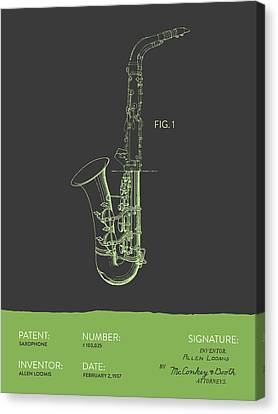 Saxophone Patent From 1937 - Gray Green Canvas Print by Aged Pixel