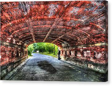 Saxophone Player At Driprock Arch In Central Park Canvas Print by Randy Aveille