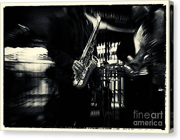 Saxophone Player In New York City Canvas Print by Sabine Jacobs