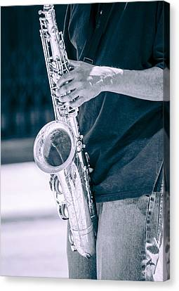 Saxophone Player On Street Canvas Print by Carolyn Marshall