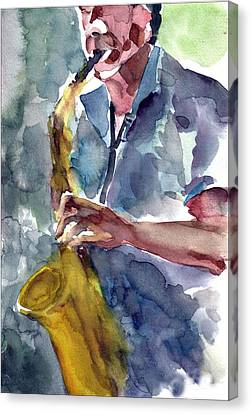 Canvas Print featuring the painting Saxophonist by Faruk Koksal