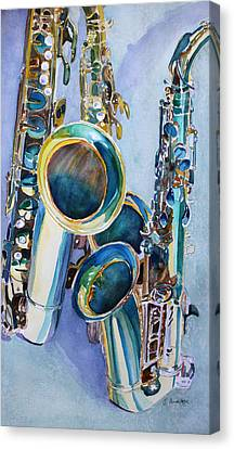 Trio Canvas Print - Saxy Trio by Jenny Armitage