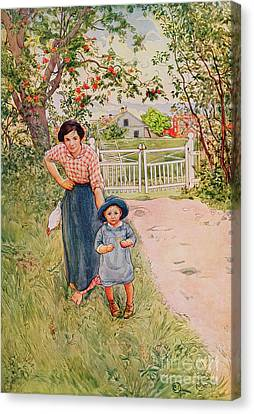 Say A Nice How Do You Do To Your Uncle Canvas Print by Carl Larsson