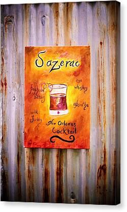 Sazerac Cocktail On Canvas Print - Sazerac On Rust by Marian Hebert