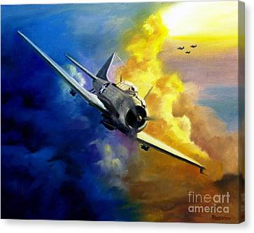 Canvas Print featuring the painting Sbd Dauntless by Stephen Roberson
