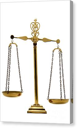 Scale Of Justice Canvas Print by Olivier Le Queinec