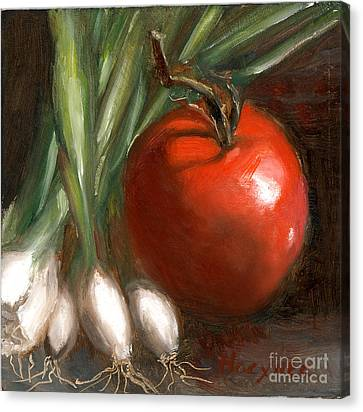 Scallions And Tomato Canvas Print by Addie Hocynec