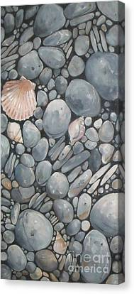 Scallop Shell And Black Stones Canvas Print