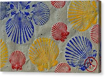 Gyotaku Canvas Print - Scallops - Seafood Rainbow by Jeffrey Canha