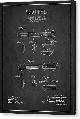 Scalpel Patent From 1916 - Dark Canvas Print by Aged Pixel